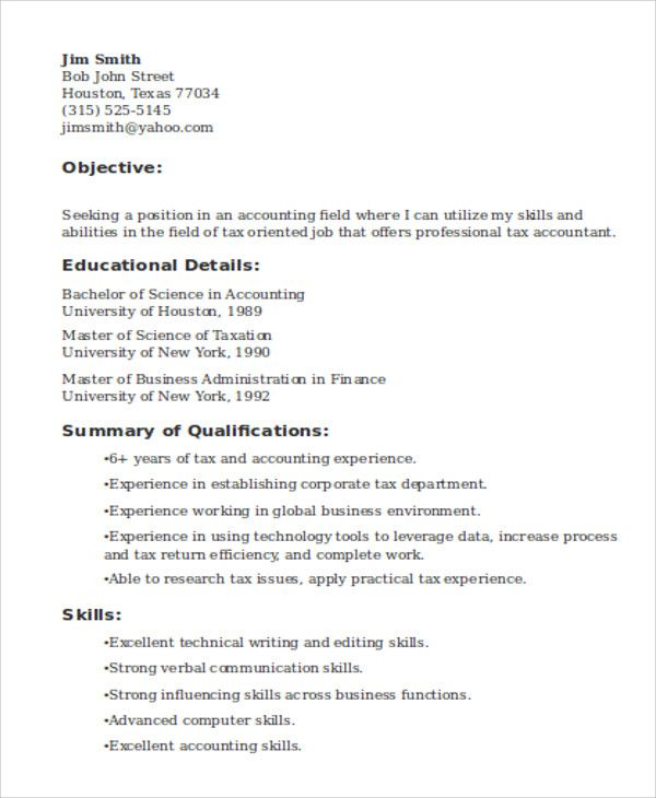 Tax Accountant Job Resume , Tax Manager Resume , Becoming a tax - how to build a job resume