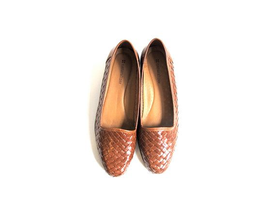 Vintage Woven Flats  Brown. Leather. 90s. Slipon. by alacloth, $29.00
