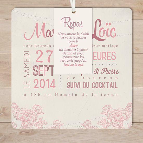 Super faire part mariage retro vintage champêtre vieux rose fleurs  II87