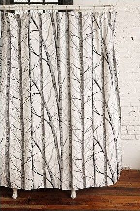 Something Good Growing In The Shower Woven Curtain With An Allover Birch Forest Print Topped Reinforced Grommets At Top For Hang