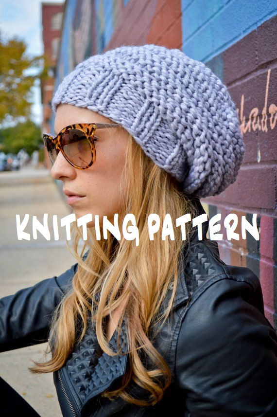 f0a86d6e2b935b Knit Hat Pattern, Knitting Pattern HIP HIVE BEANIE, Knitted Slouchy Hat  Pattern, Knit Slouch Beanie