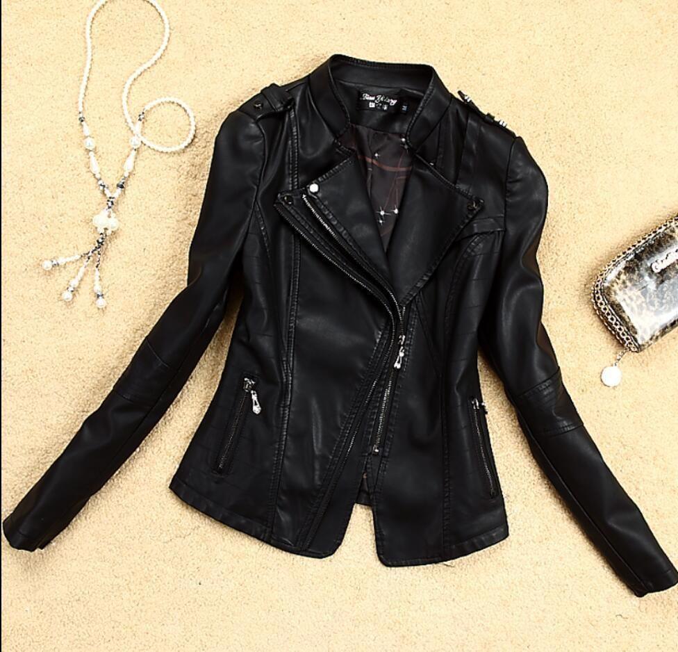 Womens Punk Slim Biker Motorcycle Short Jacket PU Leather Coat Outwear Winter US