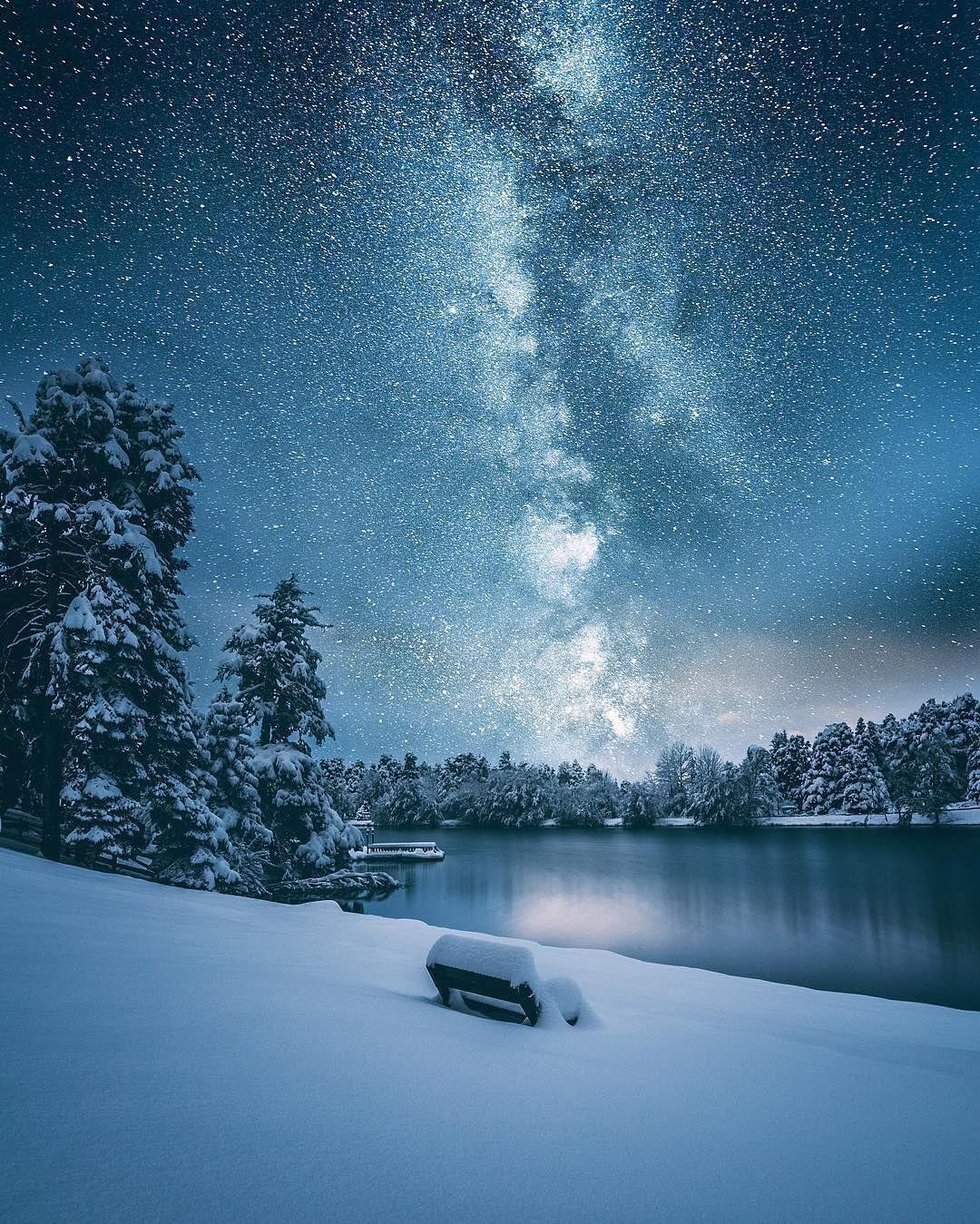 Starry Night Bolu Turkey Photography By C Cuma Cevik Night Landscape Winter Landscape Winter Scenery