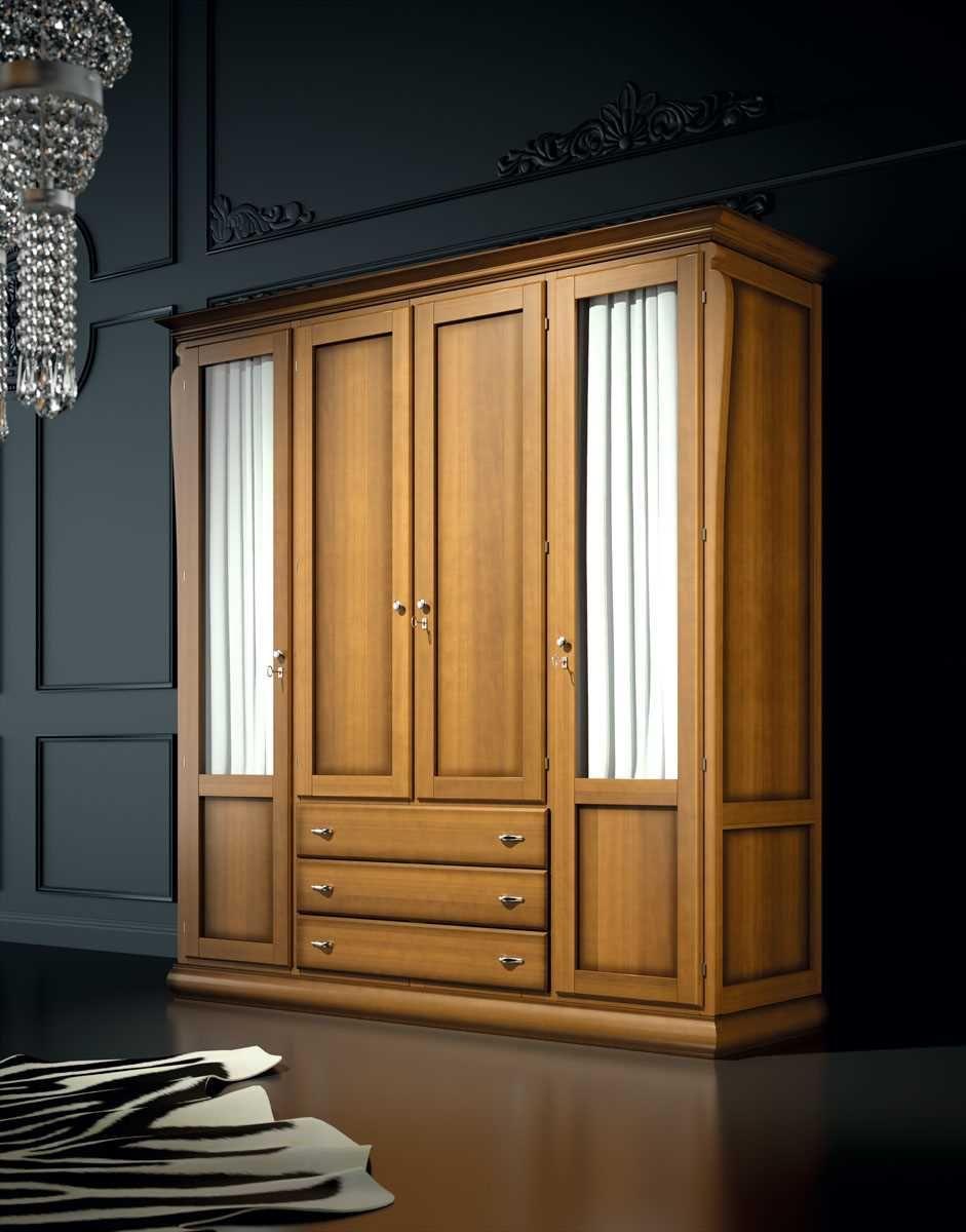 Armario Mediterráneo 4 Puertas Miel Patinado Diseño De Armario Para Dormitorio Diseño De Roperos Armarios De Dormitorio