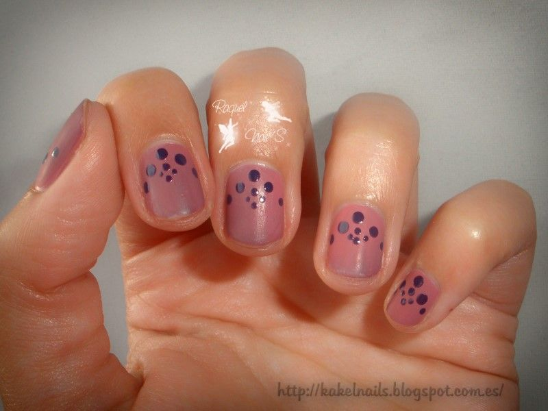 Reto Puntos ~Brilloy mate~ Nail dots purple nails Esmalte thermo Top ...