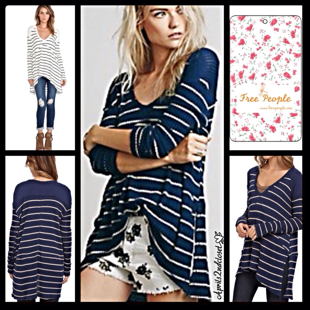 This amazing Free People tunic length thermal is absolutely perfect for the upcoming seasons. It features a super soft & stretchy fabric, a swingy silhouette, a hi-lo hem, side vents, and a ribbed neckline. Oversized silhouette. Fabric: 95% rayon & 5% . Color: Navy & Oatmeal Combo