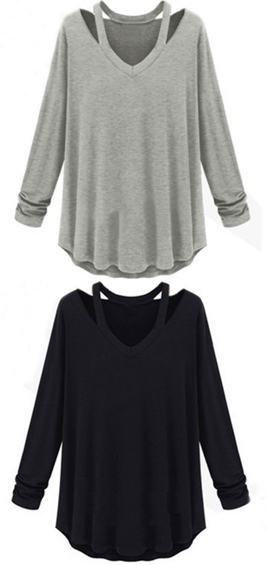 4dda5a053a4 Women Long Sleeve V Neck Off Shoulder Loose T-shirt | NC Women's ...