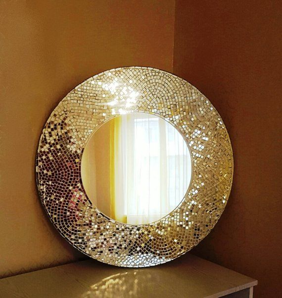 Decorative Round Mosaic Mirror For Wall 35 Quot Large Art