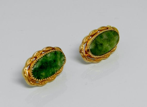 Gold Filled Oval Green Jade Post Earrings by VintagePresentations, $24.95