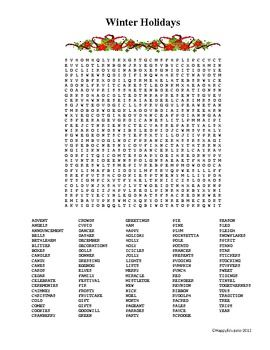 christmas and new year word search winter holidays tpt misc lessons holiday word search. Black Bedroom Furniture Sets. Home Design Ideas