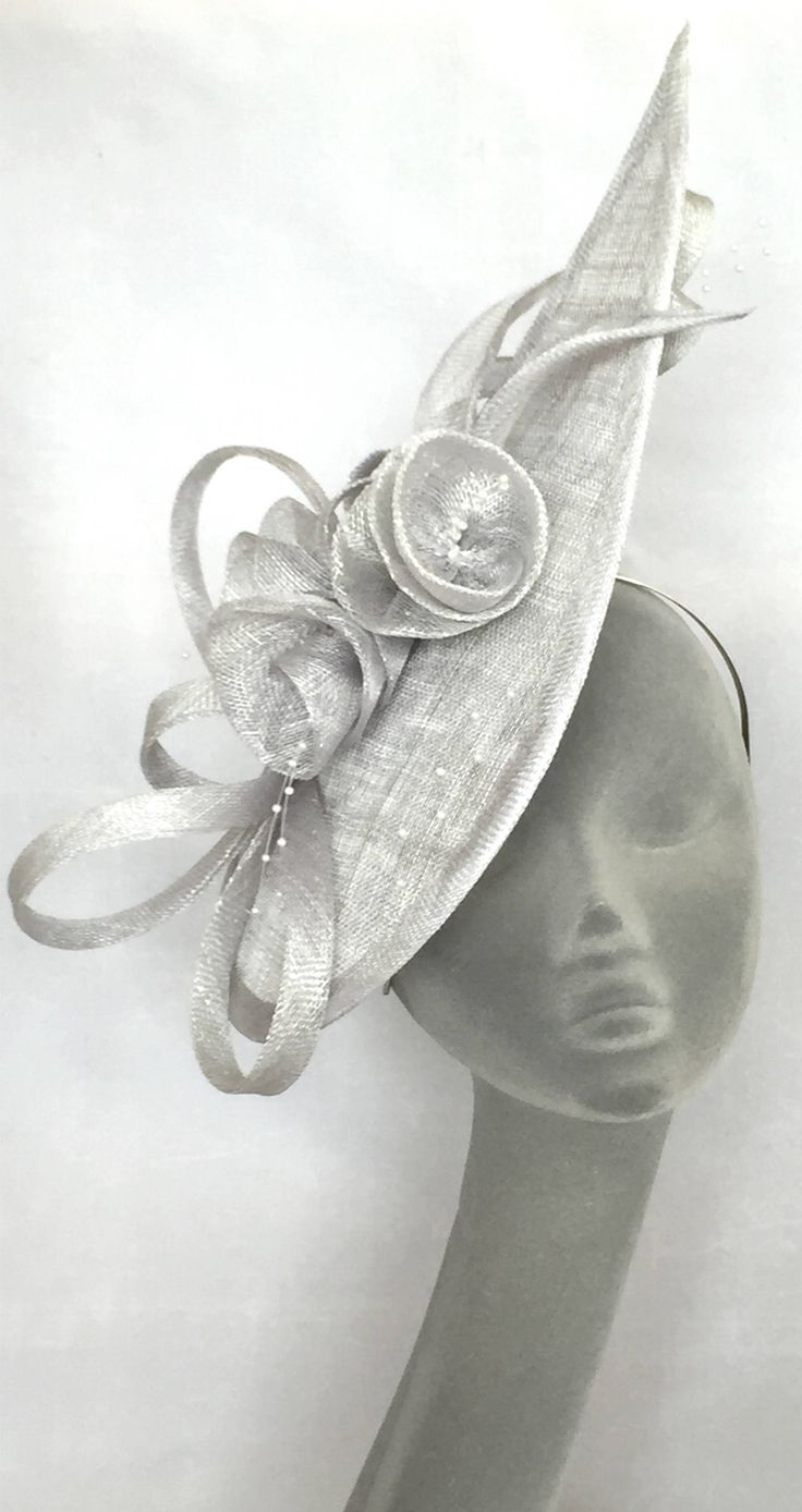 Silver Angular Saucer Hatinator Hat. Fun Headpiece for Mother of the Bride  or Racing Fashion 4e158d023f1