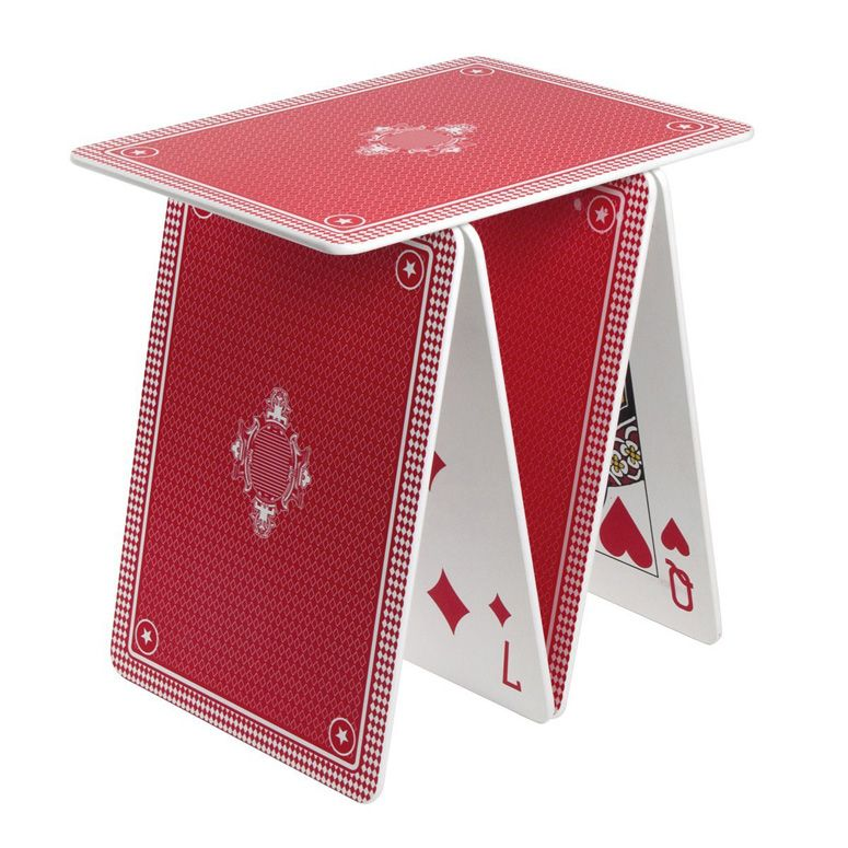 A La Carte Stackable Playing Card Table Shelf Red Accent