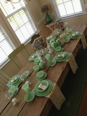 Rustic farmhouse table and jadeite dishes