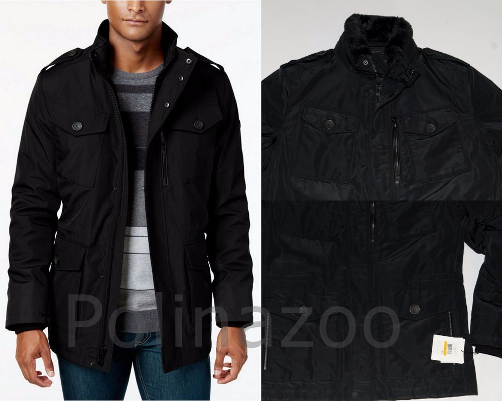 Calvin Klein Men S Black Coat Four Pocket Utility Military Jacket New 2019 Black Coat Men Military Utility Jacket Black Coat [ 800 x 1000 Pixel ]