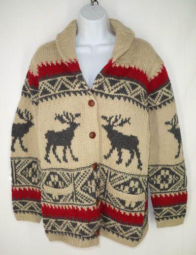8895e6b6d Ralph Lauren Hand Knit Chunky Heavy Wool Nordic Moose Cardigan Sweater M