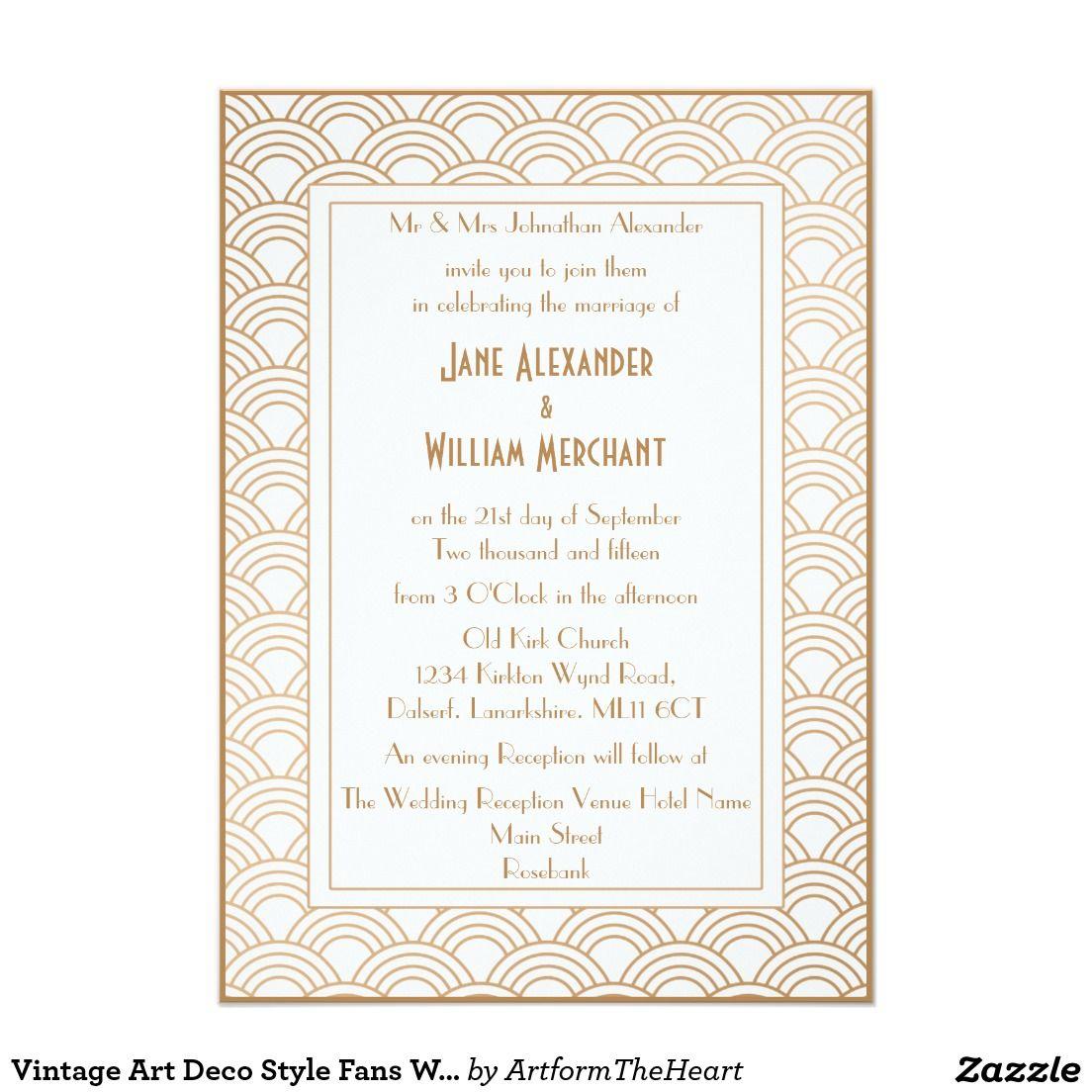 Vintage Art Deco Style Fans Wedding Invitation | Vintage Wedding ...