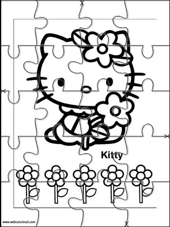 Printable jigsaw puzzles to cut out for kids Hello Kitty 25 Coloring ...