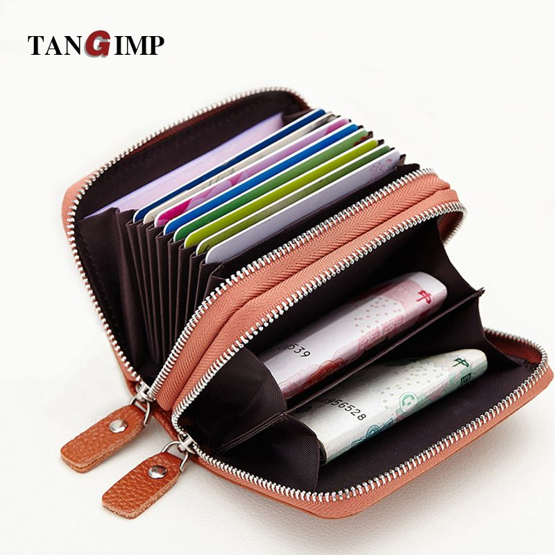 TANGIMP Double Zipper Credit Card Holder RFID Genuine Leather Women ...