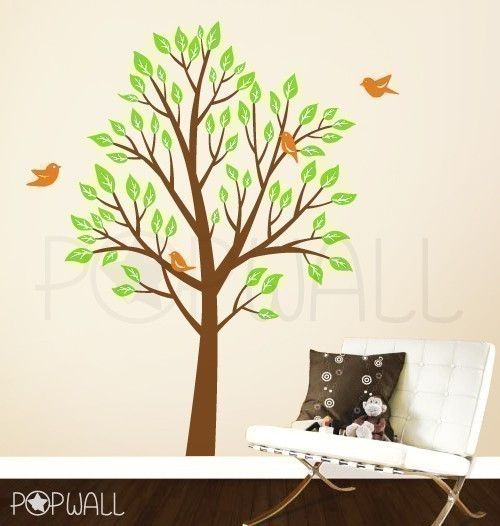 Art Tree Wall Decals Wall Sticker Tree Decal - Garden Tree with Birds ( Large)