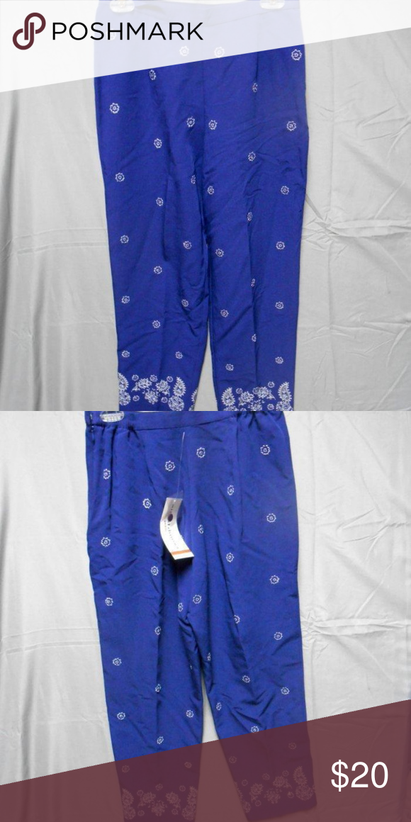 9c99ef1689 Alfred Dunner blue embroidered pants 6P NWT New with tags 82% rayon, 10%