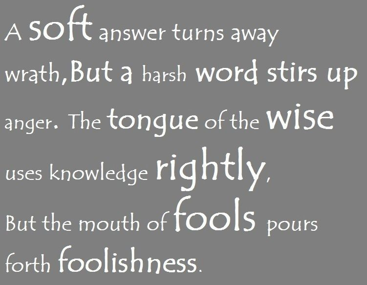 Proverbs 15:1-2. A soft answer turns away wrath. I have proved this over and over and it does always work. Try and apply it to your daily lives.