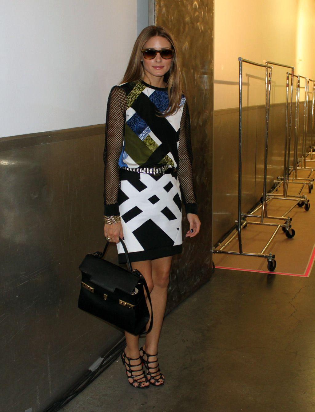 76ca5754b8d5 Olivia Palermo wearing a Tibi Nelio Mesh Sleeve Top and Transit Yoked  Skirt