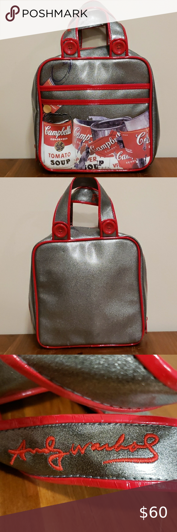 Loop Andy Warhol Campbell Soup Bag This Is A Metallic Silver Andy Warhol Campbell Soup Bag It Zips Fully And Has A Zipper P Womens Tote Bags Bags Unique Bags
