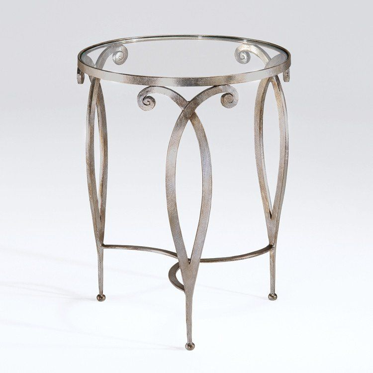 French Art Deco Silvered Side Table Wrought Iron Table Iron