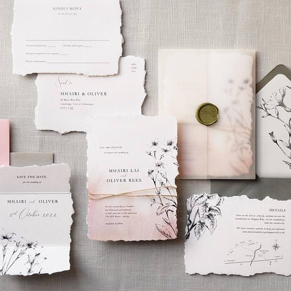Daydream Luxury Wedding Invitations Save The Date Torn Edge Twine Vellum Wrap Wax Seal British Wildflowers Invites Australia