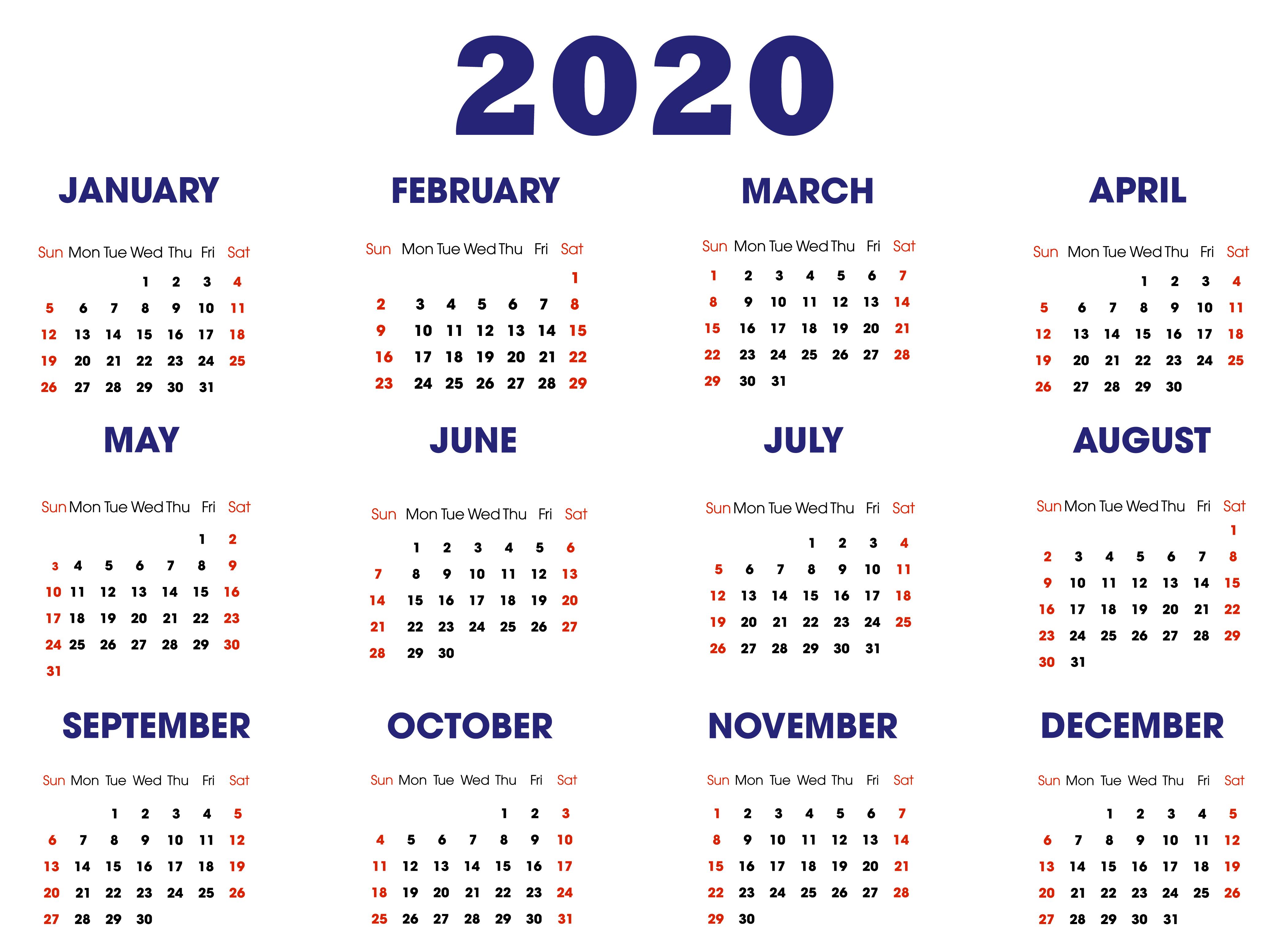 2020 Calendar Template 2020 Calendar Template Calendar Template Free Printable Calendar Templates
