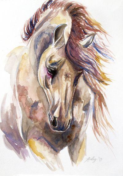 Colored Horse Art Print Dramatic Posture Composition Color