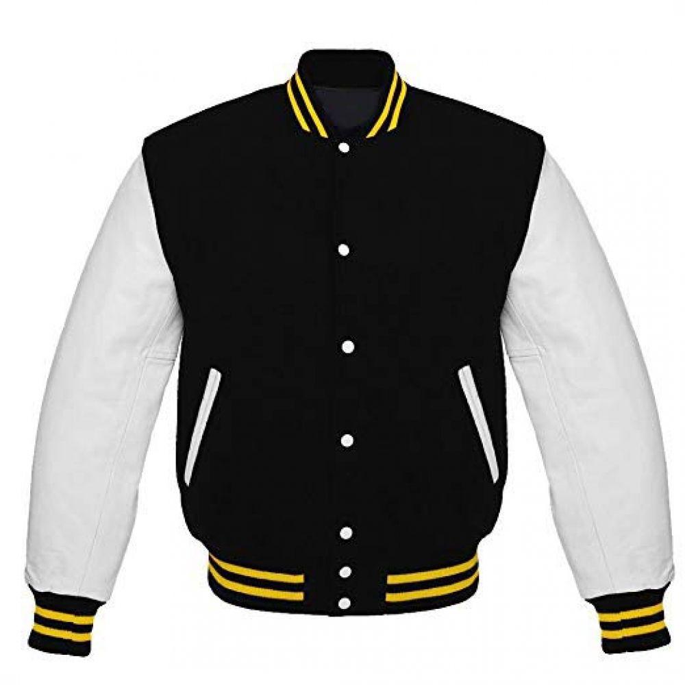 Letterman Baseball Varsity Jacket White Leather Sleeves Black Wool Yellow Golds Trips Jacket Wooljacket Leat Varsity Jacket Baseball Varsity Jacket Jackets