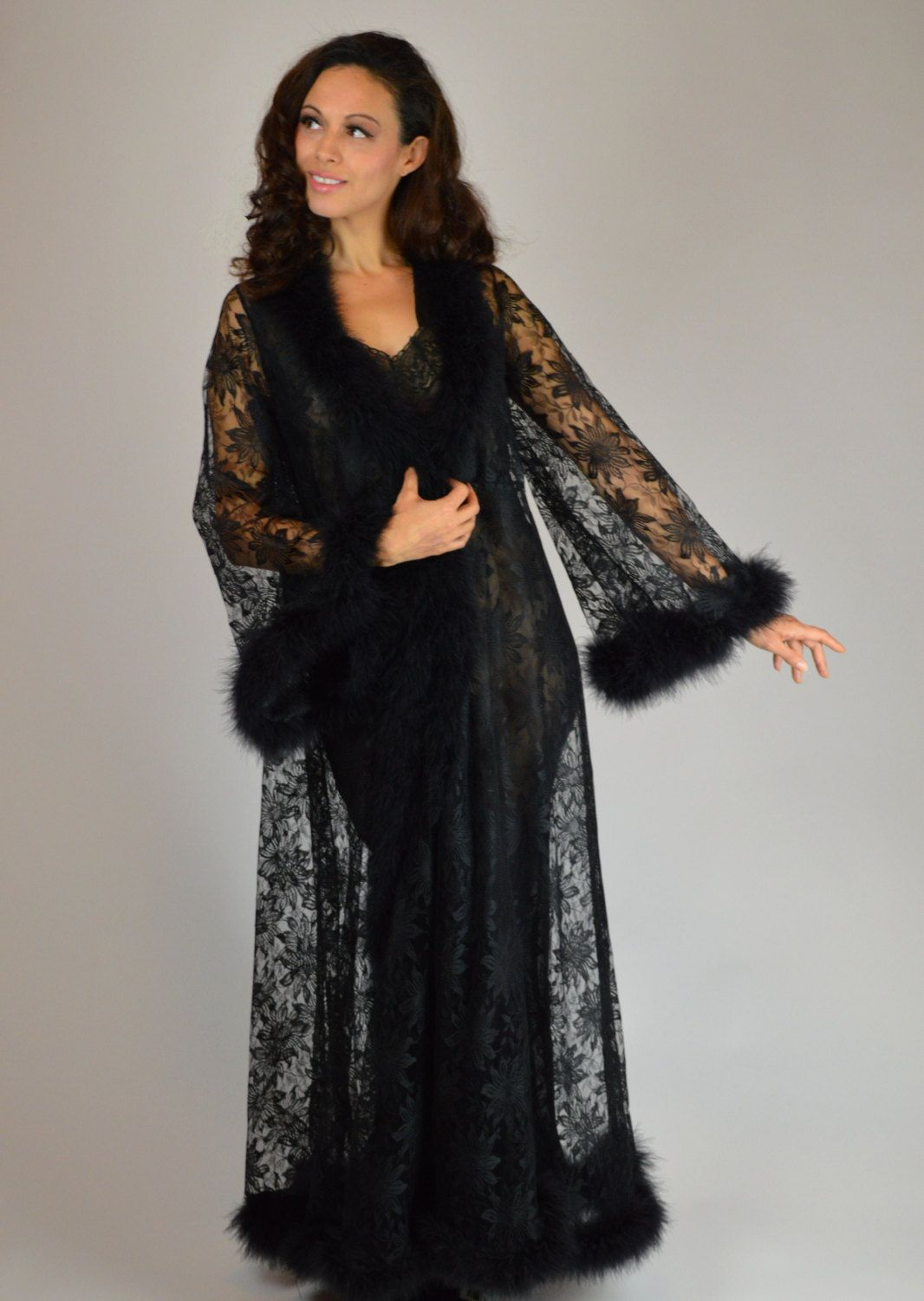 6f57aa90455 Black Lace Robe
