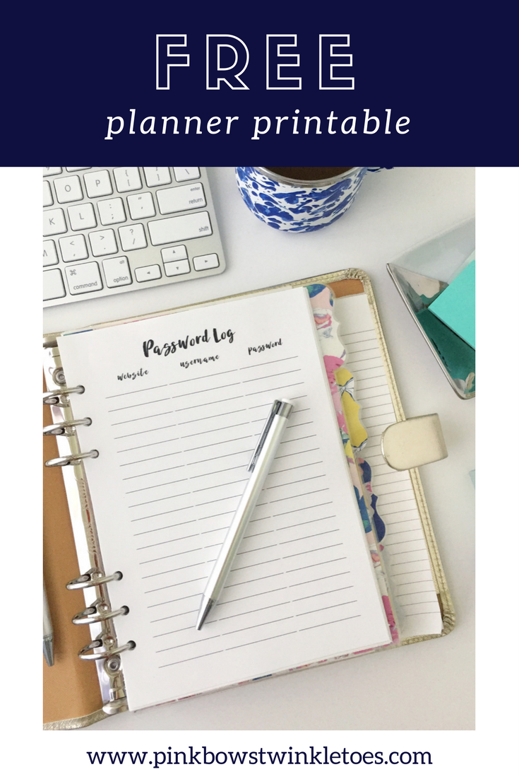 Password Log: Free Printable Planner Insert | InfluenceHer