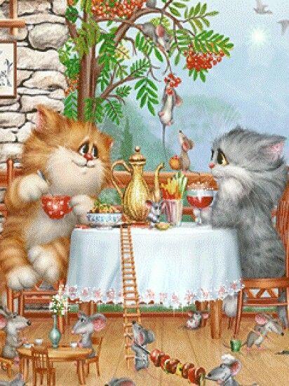 Доброе утро кот картинки мультяшная, для открытки