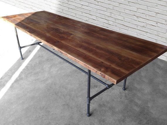 Reclaimed Wood Thick 2.5 Top Conference Table With Steel Pipe Legs In Your  Choice Of Color