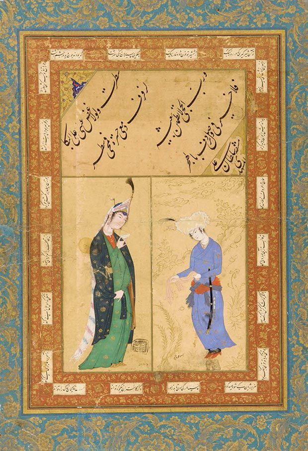 ARTICLE / Photo: Album folio, signed by Sultan Ali Mashhadi / Iran, Mashhad, or Afghanistan, Herat, Safavid period, ca. 1510–15. Paintings ascribed to Muhammad Sadiqi and Muhammad Qasim. Iran, probably Qazvin, Safavid period, ca. 1590. Ink, opaque watercolor, and gold on paper. Purchase/Smithsonian Unrestricted Trust Funds, Smithsonian Collections Acquisition Program, and Dr. Arthur M. Sackler S1986.305 / Photo courtesy of Arthur M. Sackler Gallery