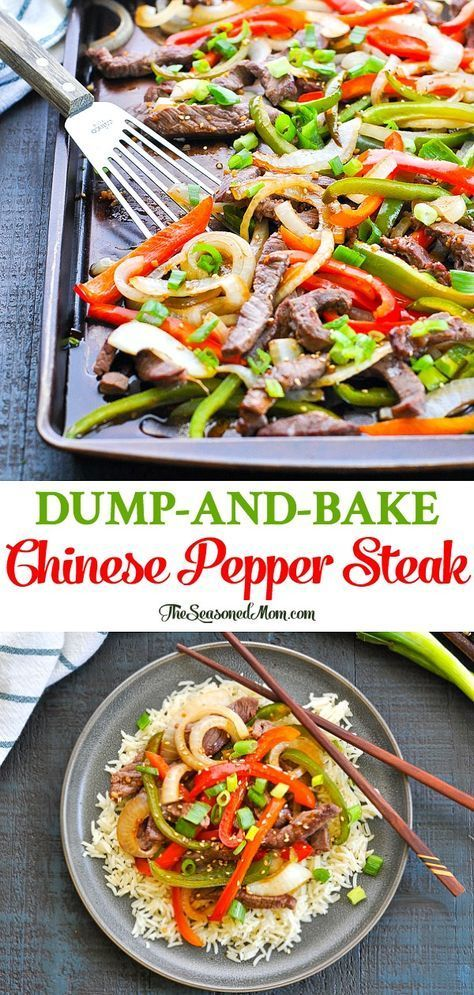 Dump-and-Bake Chinese Pepper Steak is an easy and healthy sheet pan dinner that's ready with just 10 minutes of prep! Healthy Dinner Recipes | Easy Dinner Ideas | Chinese food