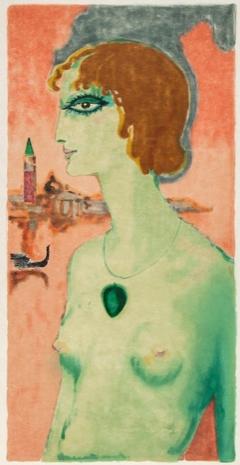 Lithograph by Kees van Dongen, 1950,  La Marquise de Casati.