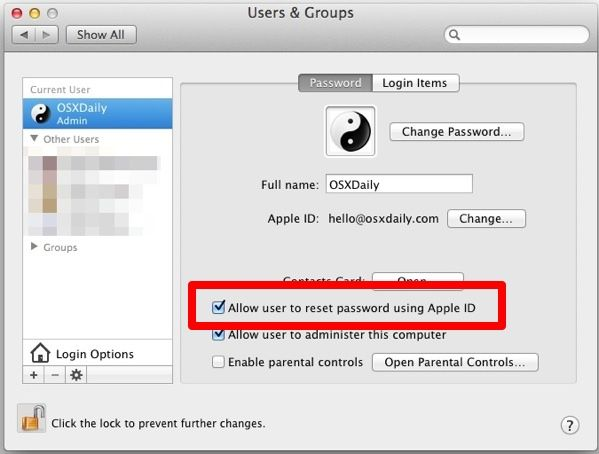 Assign an Apple ID to a Mac User Account in Mac OS X for