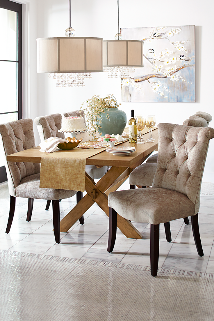 Colette Sandshell Dining Chair With Espresso Wood Dining Room