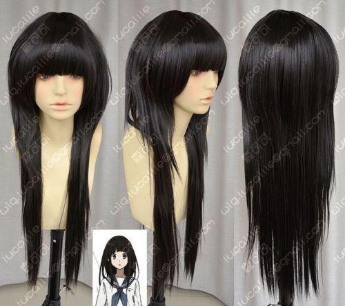 Hot Sell! Hyouka Chitanda Eru black Cosplay wig COS full wig
