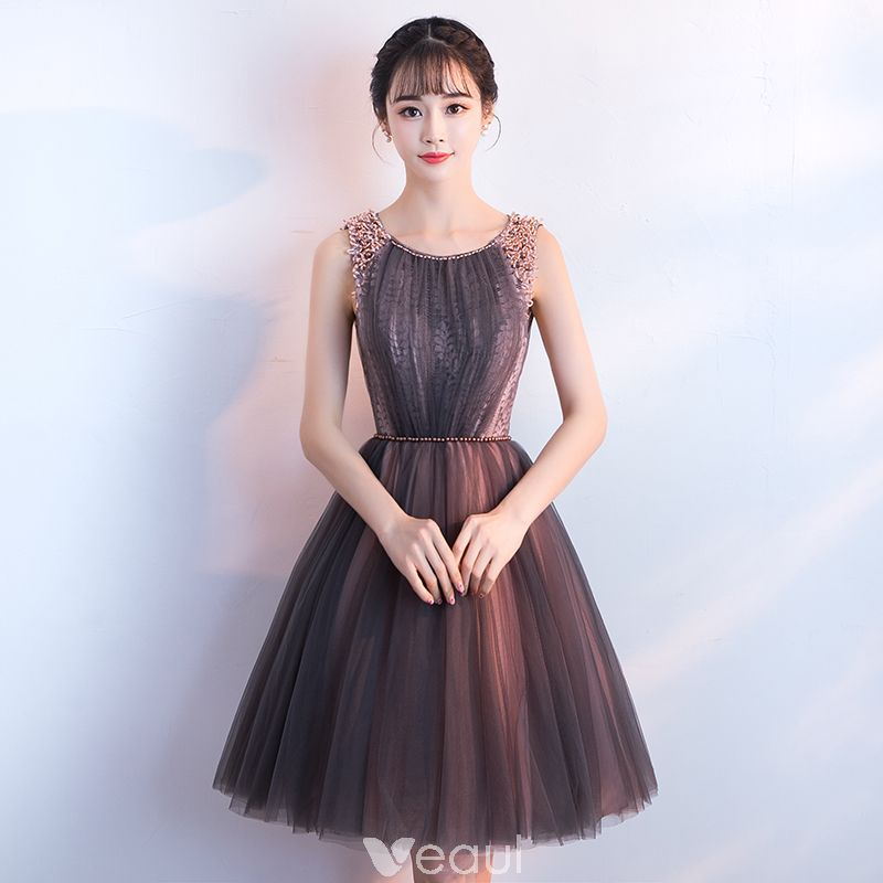 a line jewel mini tulle over chiffon luxurious dresses