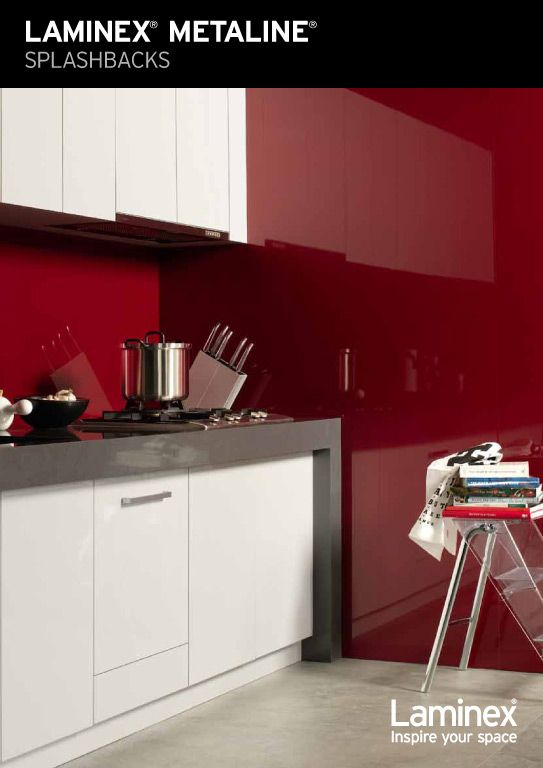 Laminex Metaline range for splashbacks.