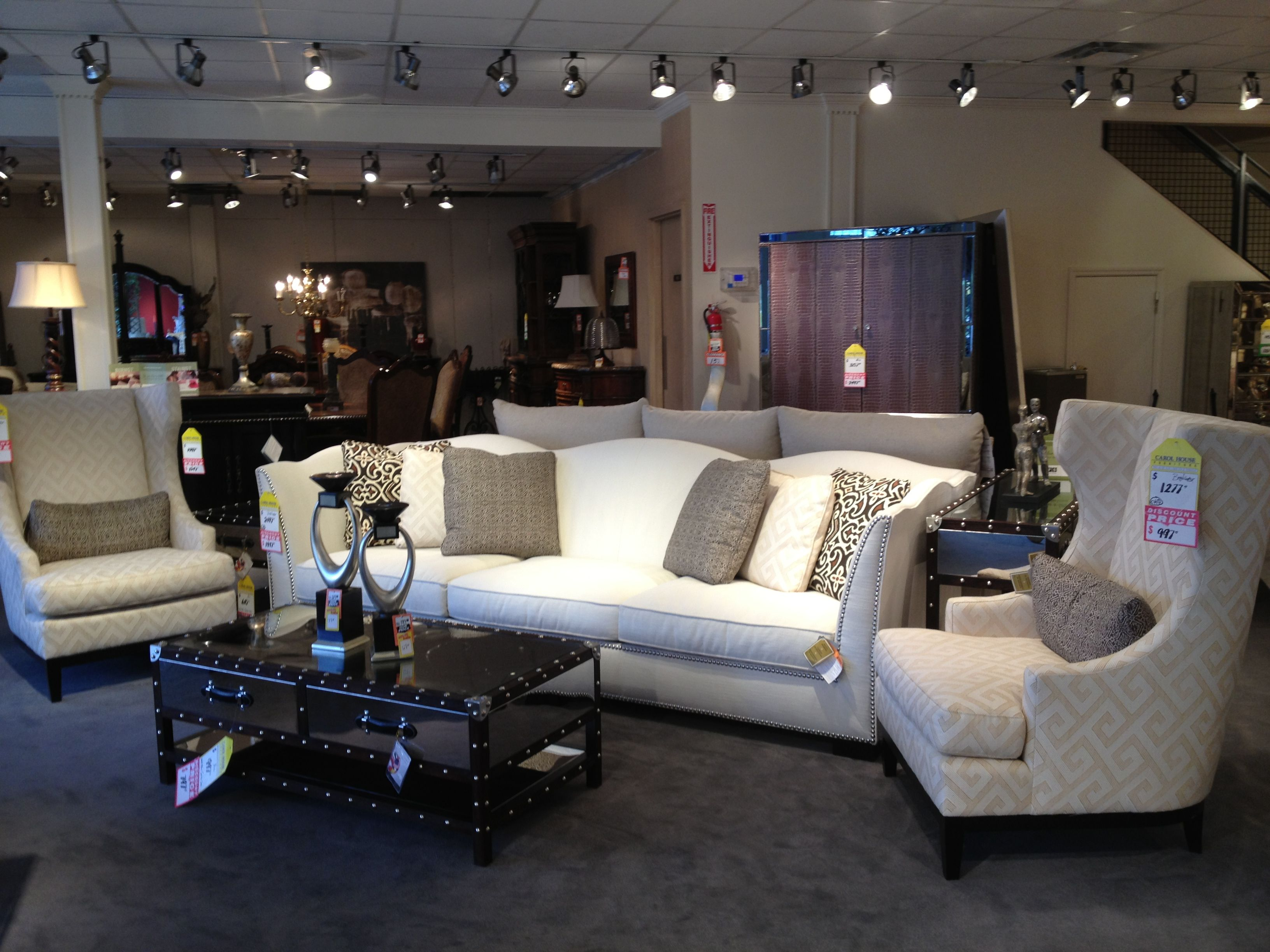 Elegant White Sofa Paired With High Back Chairs Carol House