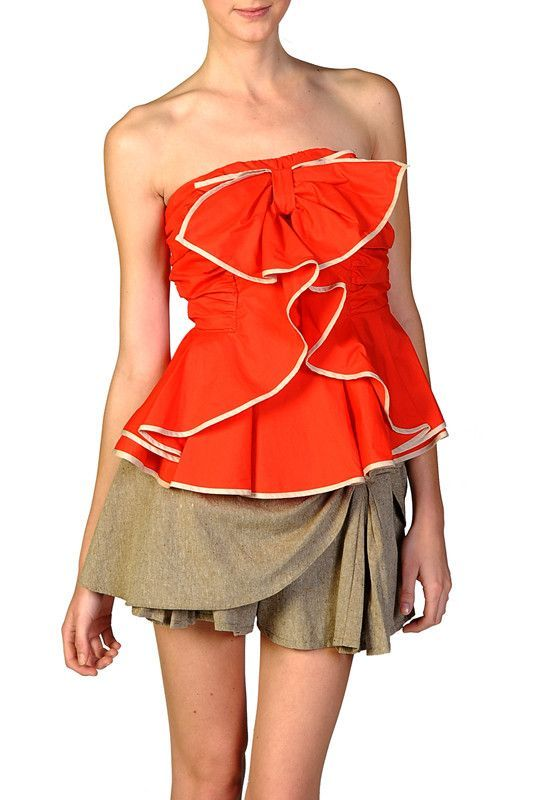 Tube Top with Ruffles & Bow Detail