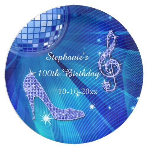 Blue Disco Ball and Heels 100th Birthday Paper Plate  sc 1 st  Pinterest & Blue Disco Ball and Heels 100th Birthday Paper Plate | Party Paper ...