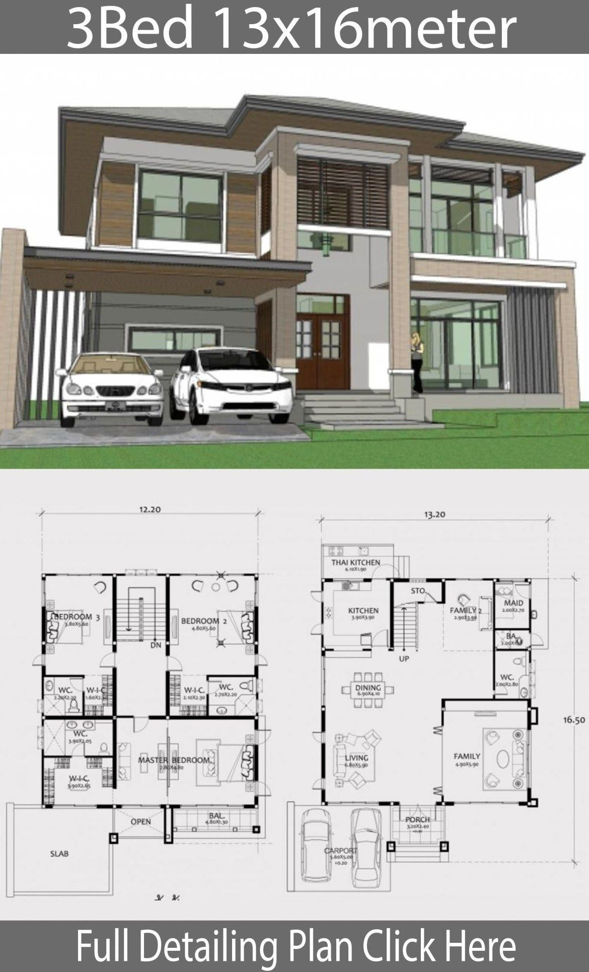 Home Design Plan 13x16m With 3 Bedrooms Home Design With Plansearch Besthomeinteriors Architectural House Plans Model House Plan Cool House Designs