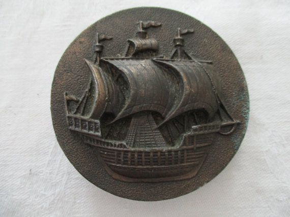 Vintage Brass Pirate Ship/Clipper Ship Belt Buckle made by Bergamot Brass Works, 1975, Made in USA