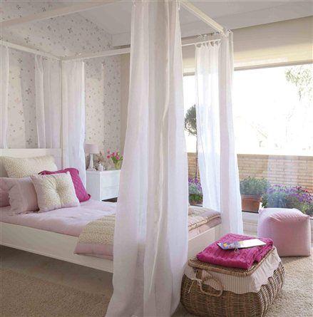 Dormitorio con dosel blanco y rosa decoraciones for Decoracion de cuartos para ninas grandes